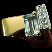 14k-diamonds-Aquamarine stone Ring