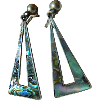 Vintage Mexican silver & abalone earrings