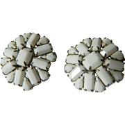 1950's signed Weiss- glass stones-Earrings