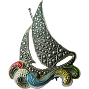 Marcasite-sailing ship with Ocean waves-enameled