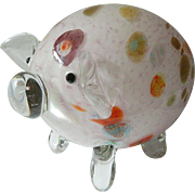 colorful-Murano glass-Pig figure!