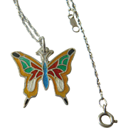 Sterling chain with Enameled Butterfly pendant