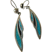 Sterling-inlaid-Mexican Earrings