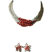 1930-1940-Glass beads Necklace with Earrings