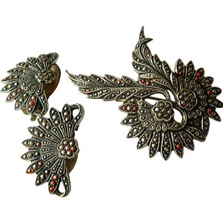 Germany-Pin with earrings-Marcisite