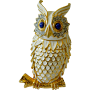 Signed-KJL enameled -Dynamic owl pin