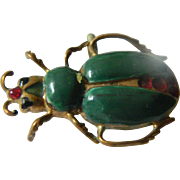 Vintage brass and Enameled Bug pin/pendant