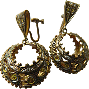 Intricate-1940's-Damascene and enameled-Earrings