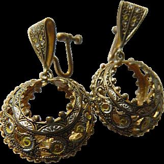 Intricate-1940's-Damascene and enameled-Earrings
