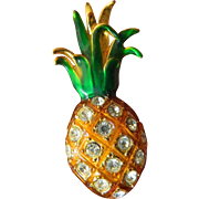 Glass stones and Enameled Pineapple pin