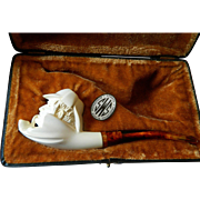 Hand carved-Turkish Meerchaump pipe with case