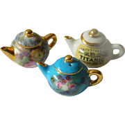 Three signed Mini-doll house-Tea pots