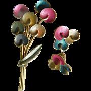 Kramer signed Pin with earrings