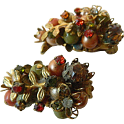 Intricate jeweled -1940-1950's Earrings