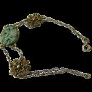 Vintage sterling and Carved jade Bracelet