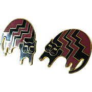"Laurel Burch-""Aztec cat"" enameled earrings"