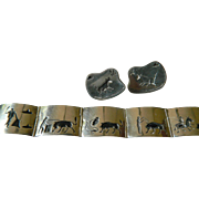 "Signed ""Danny.s"" of Taxco- sterling bracelet with Earrings"