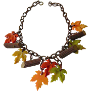 Celluloid necklace- Fall leaves