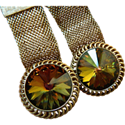 Lovely mesh metal and glass Stone cuff links