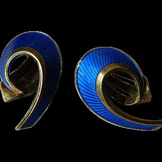 Sterling-enameled Earrings from Norway- signed