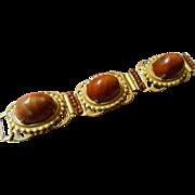 Ornate 1940-1950's-link Panel bracelet