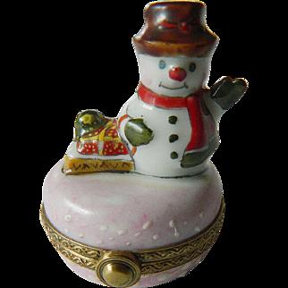 "Limoges ""Snowman"" -banded Trinket box"