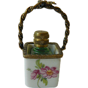 Limoges France- Bottle & basket-Trinket box