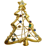Large jeweled Christmas tree Pin