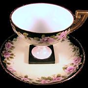 Limoges Pedestal Cup and Saucer, Signed, Pink Roses