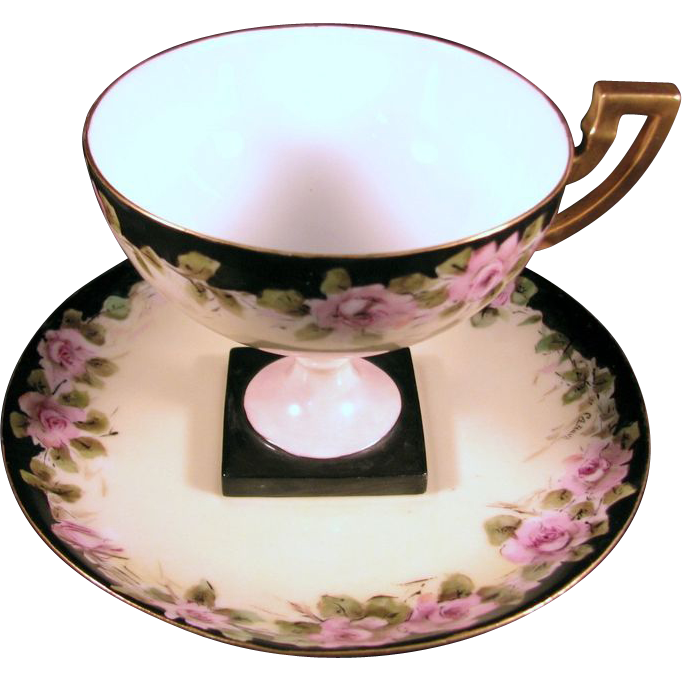 Limoges Pedestal Cup and Saucer, Signed, Pink Roses