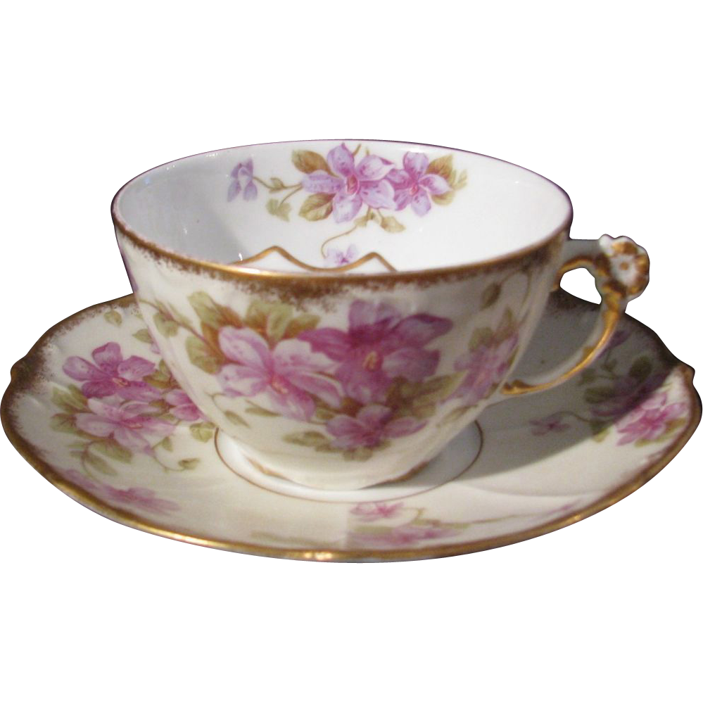 Elite Limoges Mustache, Moustache Cup with Flower Handle