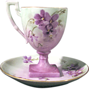 Limoges Pedestal Cup and Saucer, Purple Pansies