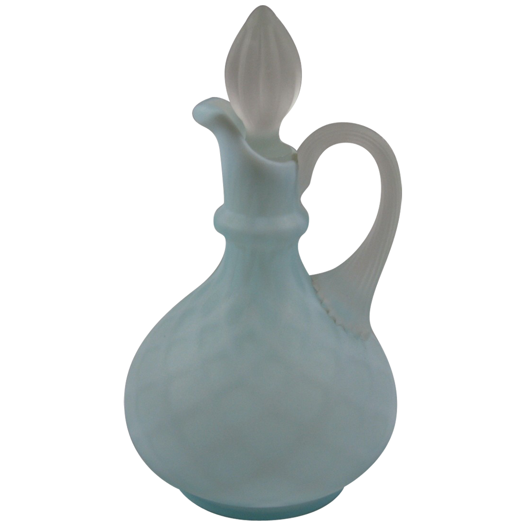 Blue Satin Mother of Pearl Quilted Cruet
