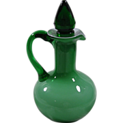 Vintage Small Green Art Glass Cruet