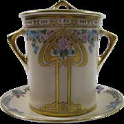 Hand Painted Hutschenreuther Selb Bavaria Art Deco Condensed Milk Container w/Underplate