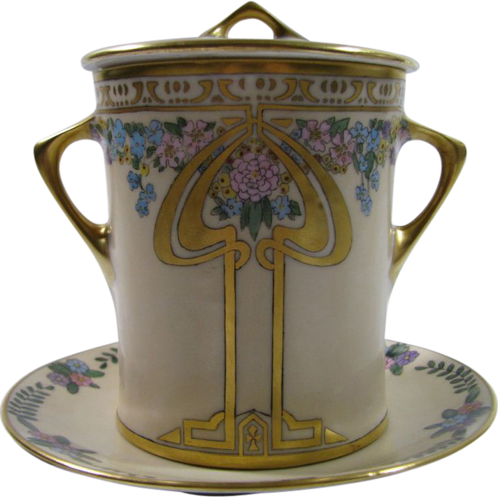 Hand Painted Hutschenreuther Selb Bavaria Art Deco Condensed Milk Container w/Underplate