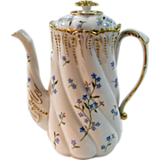 Antique Hand Painted Lanternier Limoges Coffee/Chocolate Pot, Blue Forget-me-nots