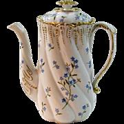 Antique Hand Painted Lanternier Limoges Coffee/Chocolate Pot, Blue Forget-me-nots