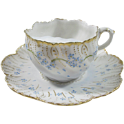 C. Ahrenfeldt Limoges Mustache/Moustache cup with Blue Forget Me Knots