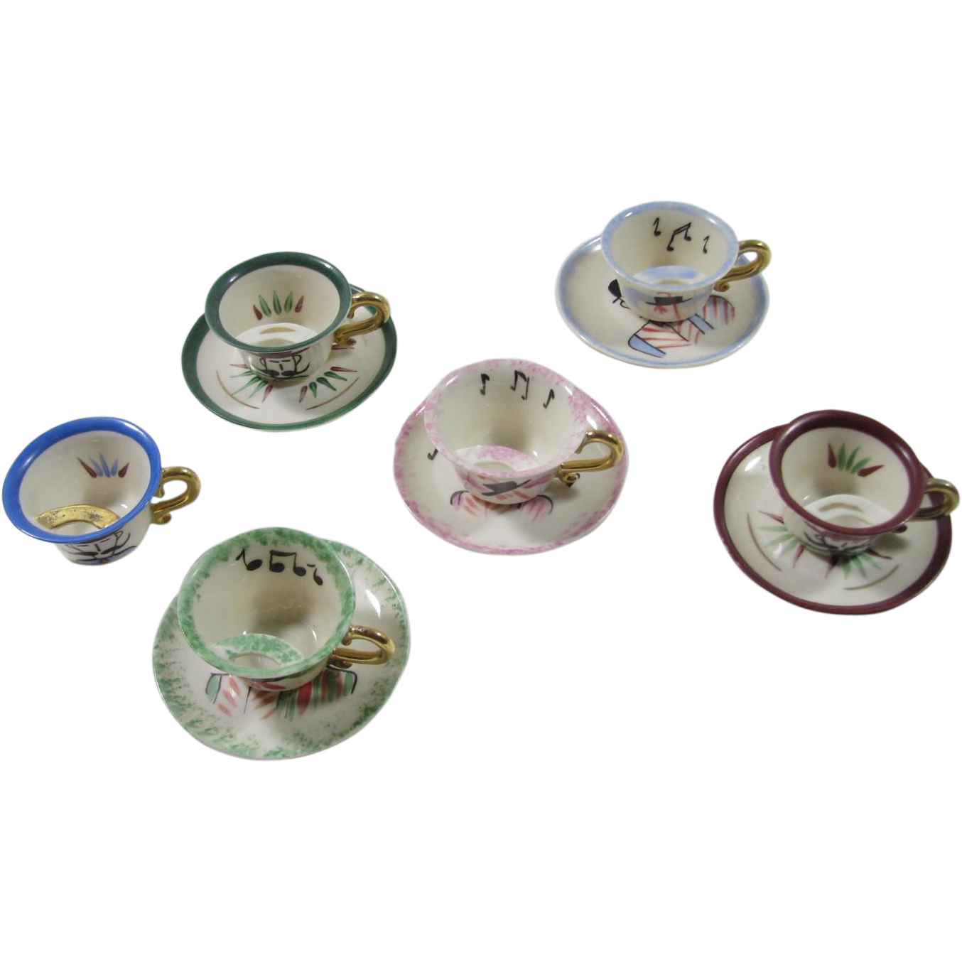 Miniature Mustache/Moustache Cup and Saucer set