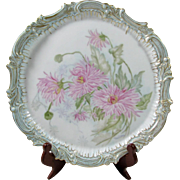 "T & V Limoges France 1900's Hand Painted ""Pink Mums"" Tray, Artist signed and Dated 1894"