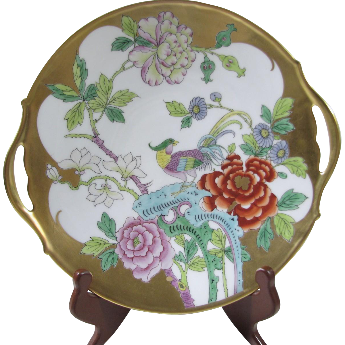 Pickard Studio Hand Painted Cake Plate Featuring Bird of Paradise
