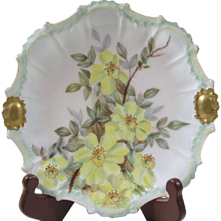 Coiffe Limoges France Early 1900s Hand Painted Plate With Yellow Dogwood Flowers