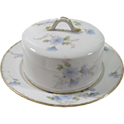 Haviland Limoges Blue Floral 2 Piece Covered Butter Dish