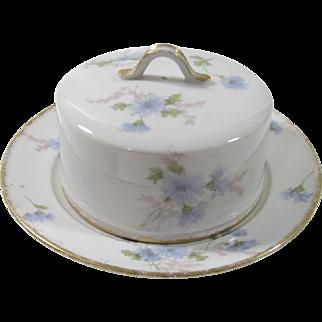 Haviland Limoges Blue Floral 2 Piece Covered Butter Dish