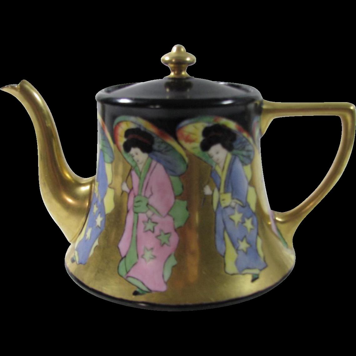 William Guerin & Co. Limoges Metallic Design Teapot.