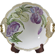Hand painted Charles F Haviland H.P. Purple Iris Bowl - Red Tag Sale Item