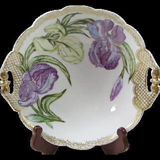 Hand painted Charles F Haviland H.P. Purple Iris Bowl