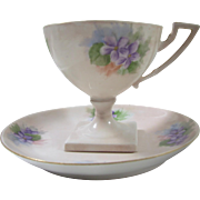 Hand Painted Limoges Pedestal Cup and Saucer, Purple Violets