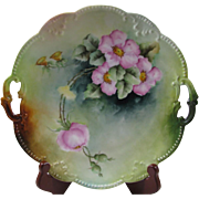 A K Limoges Hand Painted Dogwood Flowers Cake Plate